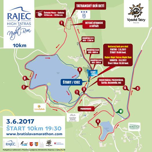 Rajec High Tatras Night Run mapa 10 km