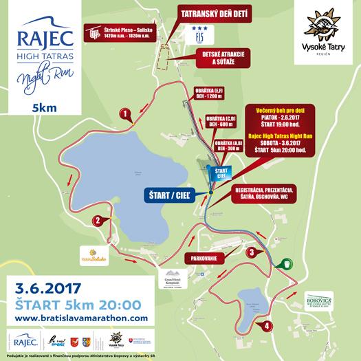 Rajec High Tatras Night Run mapa 5 km
