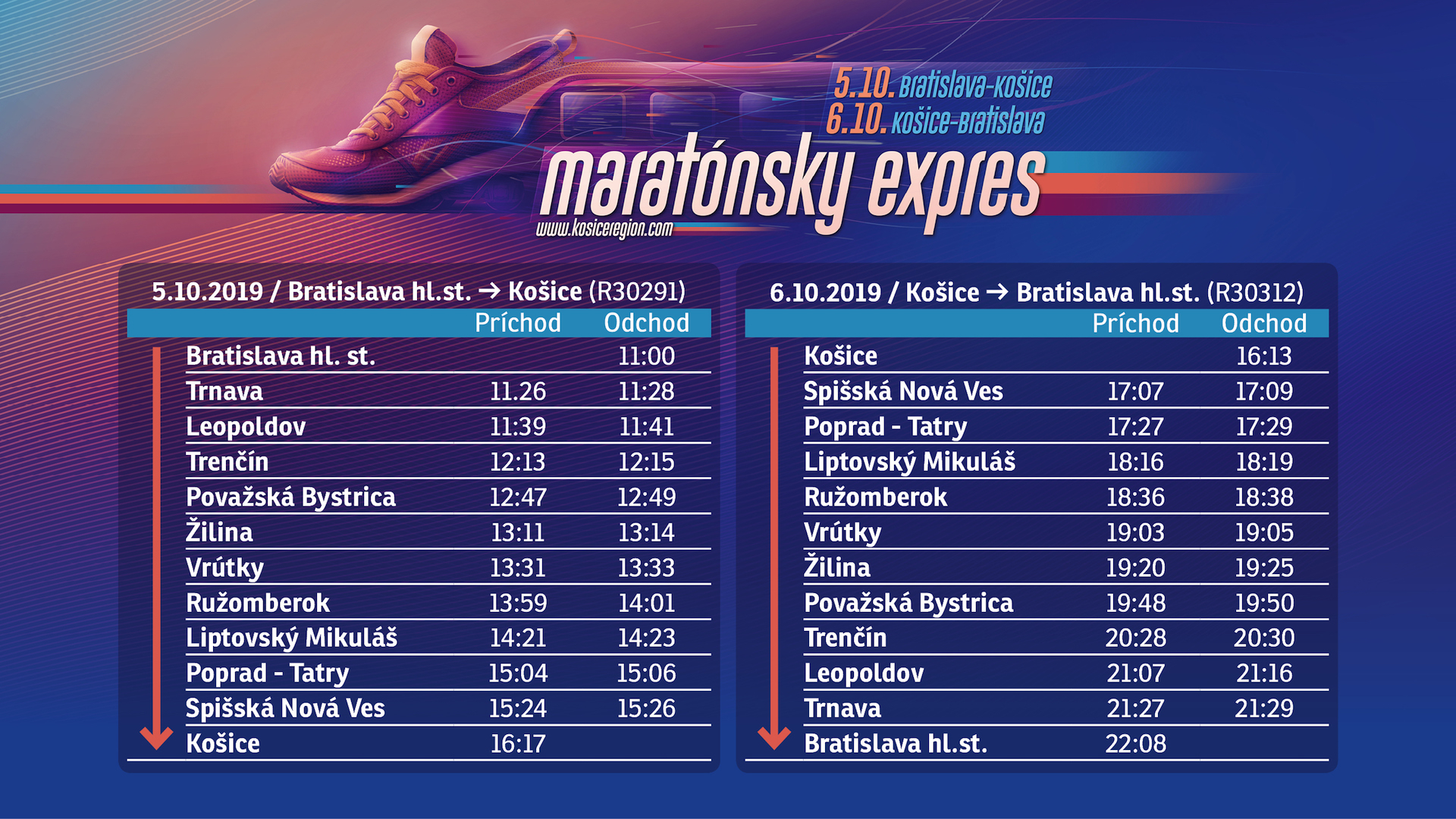 Cestovný poriadok Maratónsky expres