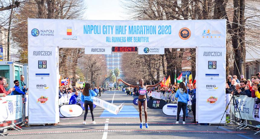 Woman winner Napoli Half Marathon 2020
